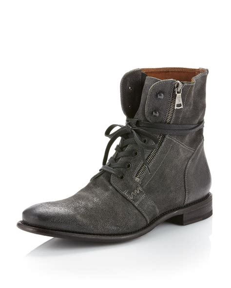 varvatos distressed suede boot in gray for lyst