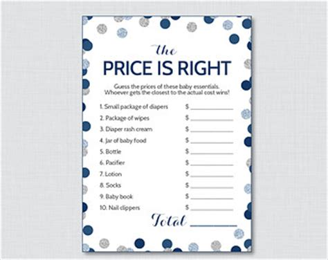 price is right bridal shower template items similar to printable boy baby shower price is right