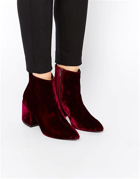 asos asos radio pointed velvet ankle boots at asos