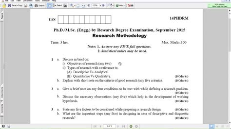 Research Methodology Notes For Mba Pdf by Research Methodology Paper Pdf