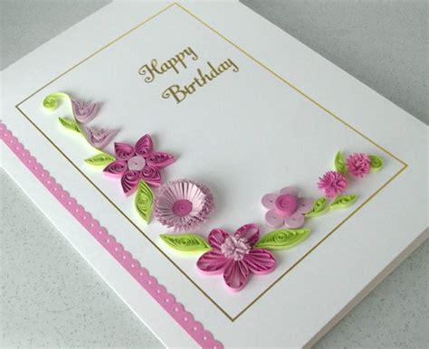 Handmade Design On Paper - paper quilling birthday card handmade can be personalized
