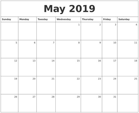 may 2019 calendar may 2019 monthly calendar