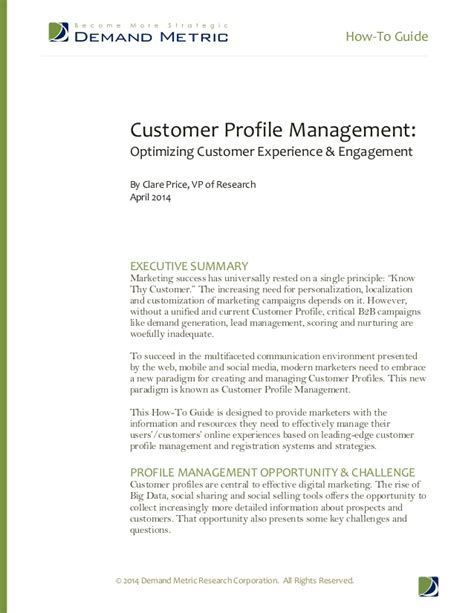 customer profile template demand metric how to guide customer profile management