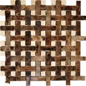 basket weave dark emperador 1 2x2 with crema marfil dot 1