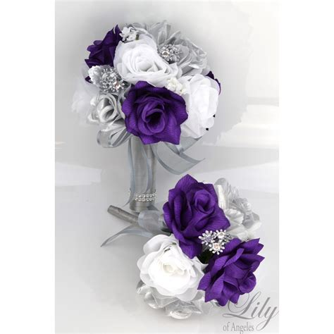 purple silver white bouquets corsages boutonnieres