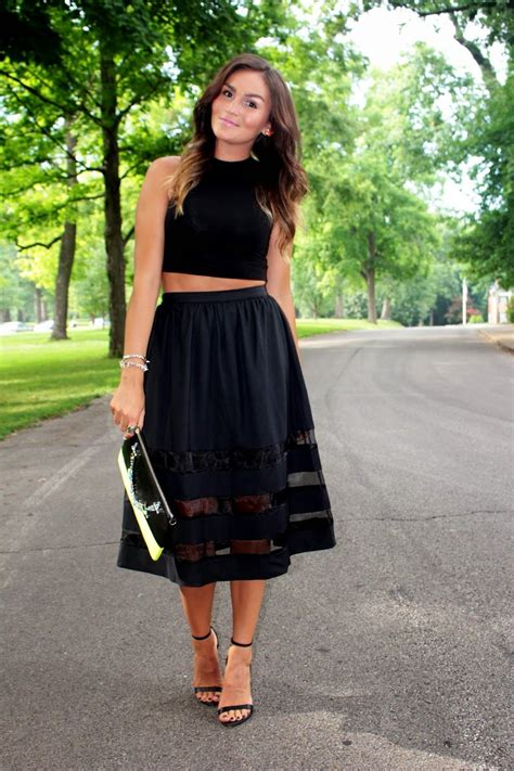 Color Panel Midi Skirt black crop top black sheer panel midi skirt www