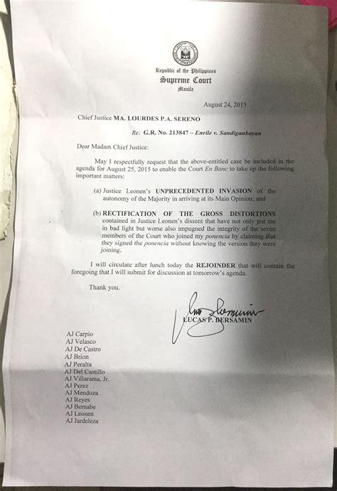 war  sc justices bersamin files complaint  leonen