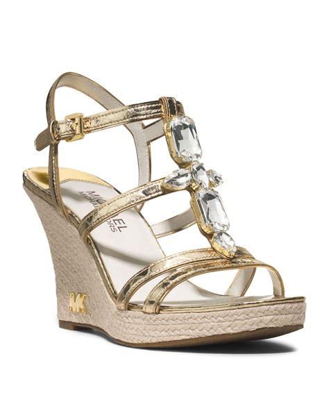 michael kors michael jeweled wedge sandal in