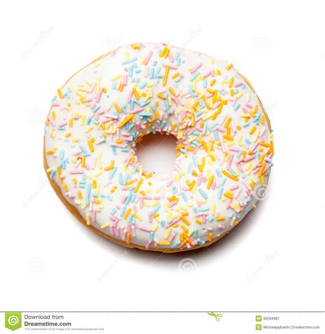 Toys Donuts Whitesugar white donut with sugar sprinkles royalty free stock photography image 30294987