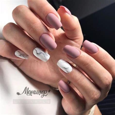 matte mauve nails  white marble accents happyweddcom