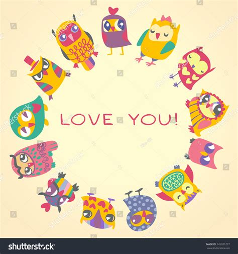 greeting card template with cute owl vector free download owls cute greeting card sle text stock vector 145921277