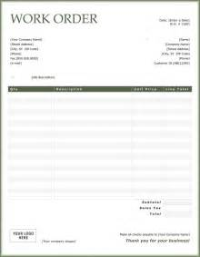 work order invoice template work order sle