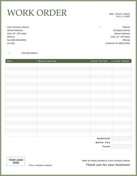 Easy To Use And Customizable Work Order Template Format Vlashed Construction Work Order Template