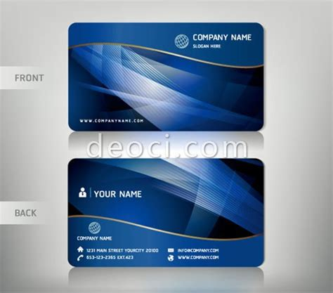 cool id card design template free vector blue wave background abstract business card