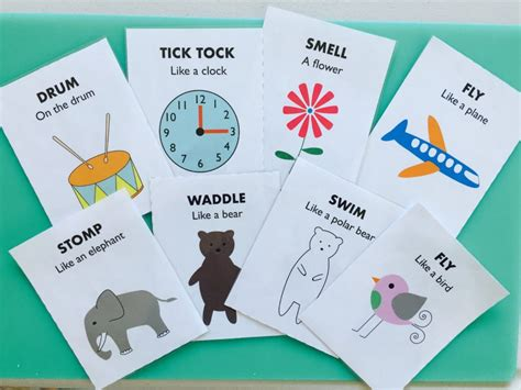 printable animal action cards tuesday box of activities for 12 18 month olds chicklink