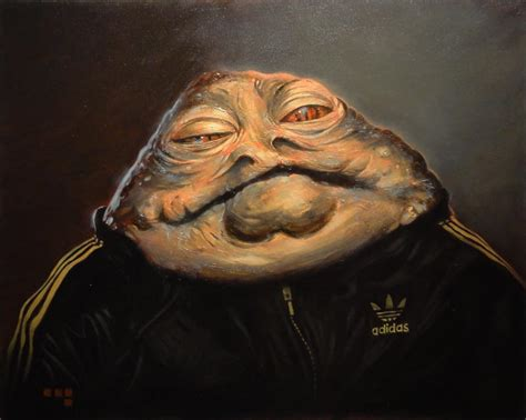jabba hutt link jabba in adidas tracksuit painting by duncan