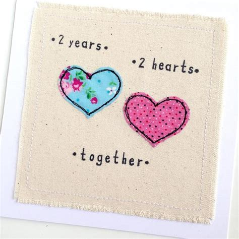 Cotton 2nd anniversary greeting card personalised textile