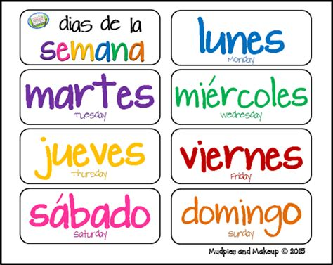days of the week coloring pages in spanish mudpies and make up spanish circle time printables free