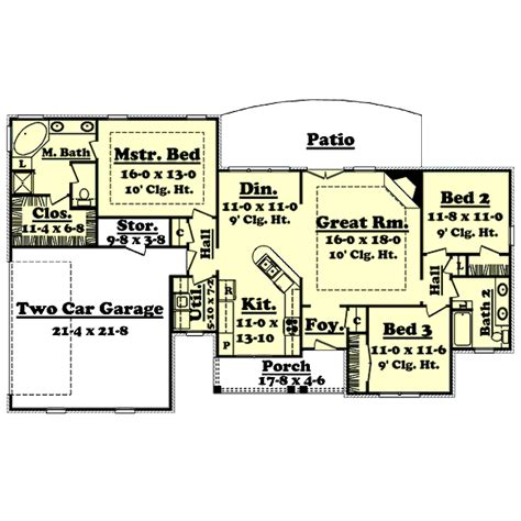 Country Style House Plan   3 Beds 2 Baths 1600 Sq/Ft Plan