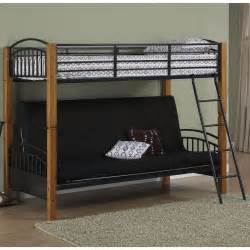 powell matte black and country pine futon metal