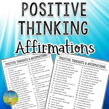 Task Cards Template For Affirmations by 101 Free Positive Thinking Affirmations By Pathway 2