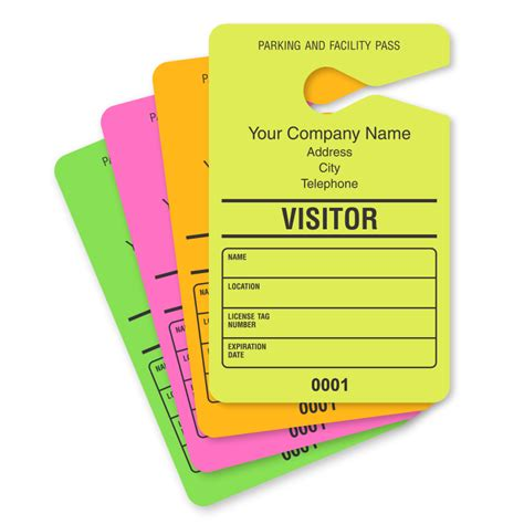 visitor pass template free temporary parking passes customize