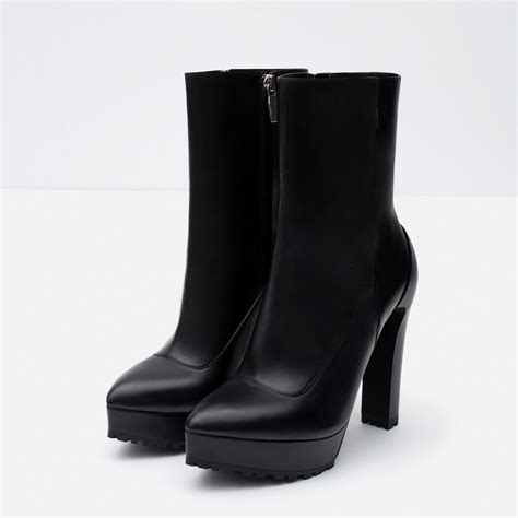 high heel ankle shoes zara high heel leather ankle boots in black lyst