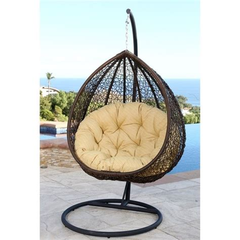 wicker swinging chair abbyson living sonoma outdoor wicker swing chair in yellow