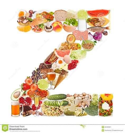 up letter with food letter z made of food royalty free stock photography