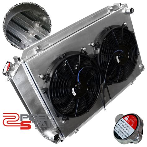 aluminum radiator with electric fan mustang three row aluminum radiator electric fan shroud ebay