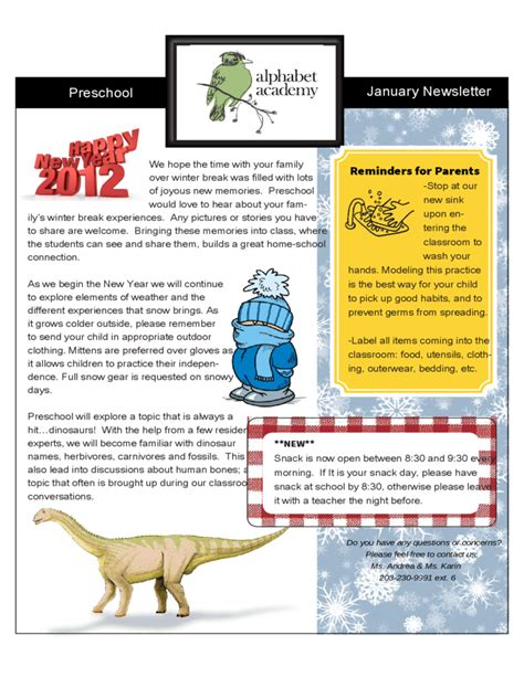 preschool january newsletter alphabet academy free download