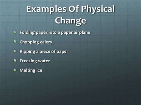 exle of physical change physical vs chemical change
