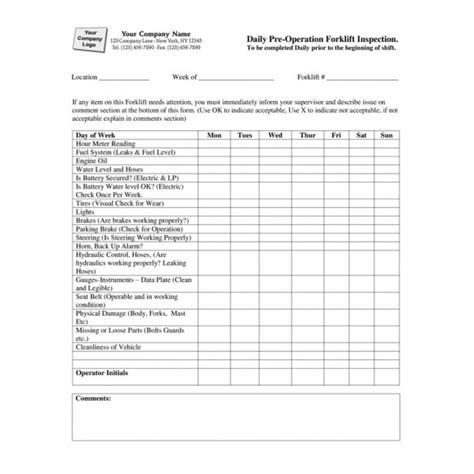 printable fork lift daily inspection checklist pictures to