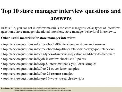 top 10 store manager questions and answers