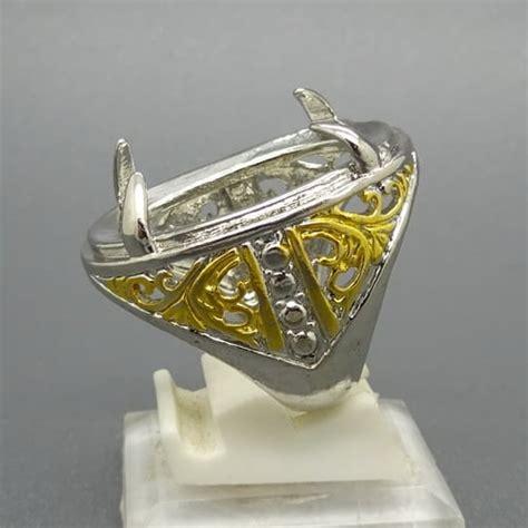 Dijamin Senter Batu Cincin Model Pulpen Silver cincin rhodium combinasi emas perak pusaka dunia