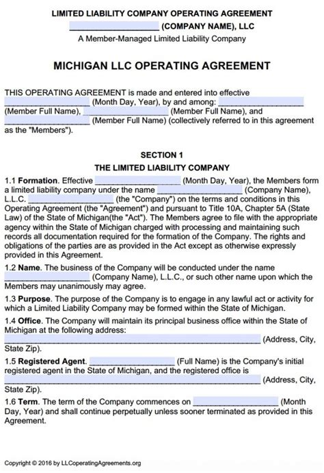 Michigan Multi Member Llc Operating Agreement Free Llc Operating Agreements Free Llc Llc Operating Agreement Michigan Template