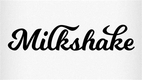 Thick substantial script font milkshake was created by typographer
