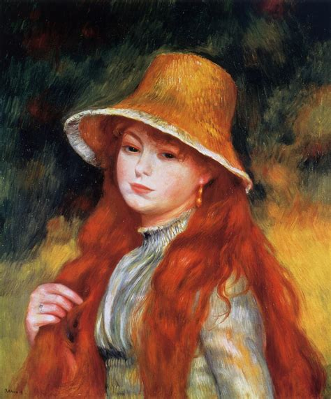 renoir basic art album young in a straw hat 171 pierre auguste renoir 1841 1919 171 artists 171 art might just art