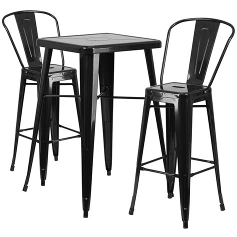Outdoor Bar Table And Stools 23 75 Square Black Metal Indoor Outdoor Bar Table Set With 2 Stools With Backs Ch 31330b 2