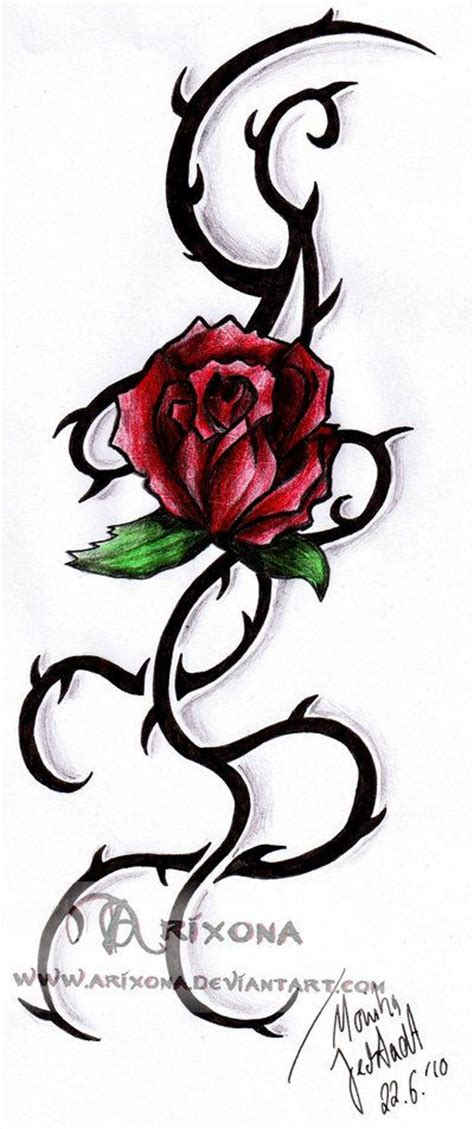 red rose vine tattoo tribal vine tribal by arixona on