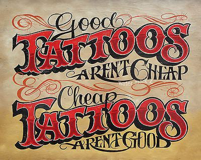 tattoo shop policy vintage style sign ink flash carolina