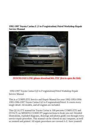 toyota manual carina e 1992 1997 repair manuals download wiring diagram electronic parts 1992 1997 toyota carina e j to p registration petrol workshop repair service manual by