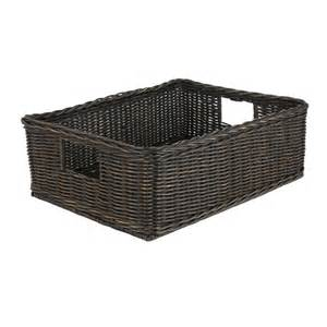 bed storage baskets basic underbed wicker storage basket the basket