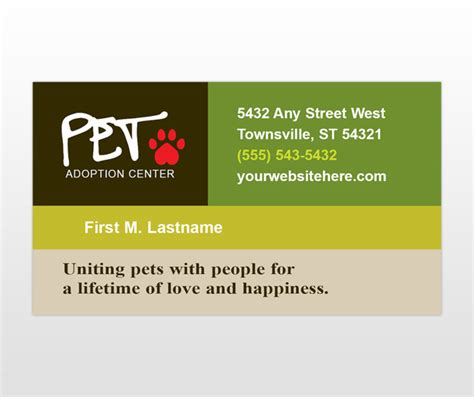 Pet Business Card Template by Animal Shelter Pet Adoption Business Card Template