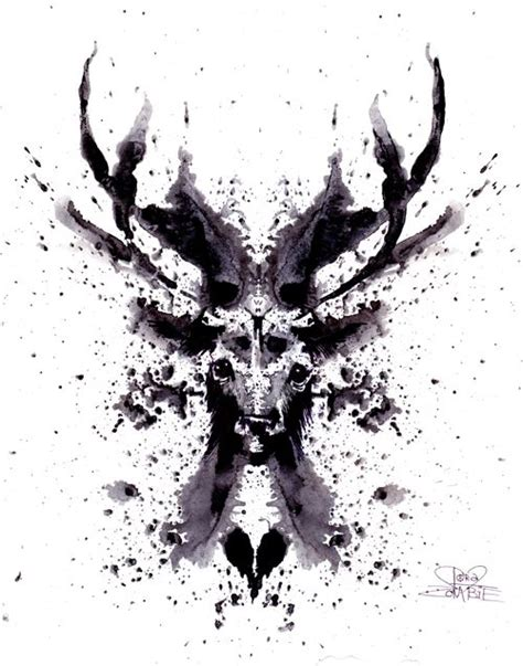 ink blot tattoo rorschach stag by lora on deviantart others