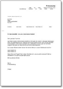 Musterbriefe Wohnungsbewerbung werbebrief f 252 r website gestaltung de musterbrief