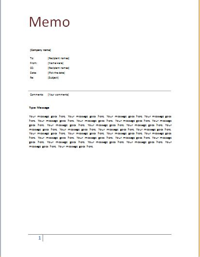 Memo Document Template Word Ms Word Memo Template Document Templates