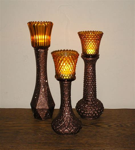 candle holders upcycled glass vases chocolate brown glittered