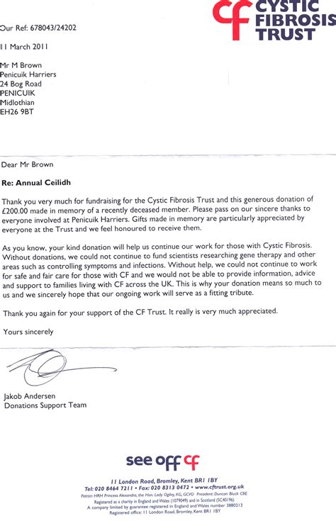 Introduction Letter Of Charitable Trust Ceilidh Charity Donation Penicuik Harriers Running Club