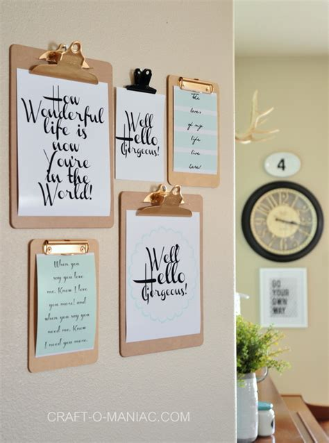 diy printable home decor clipboard wall art with free printables